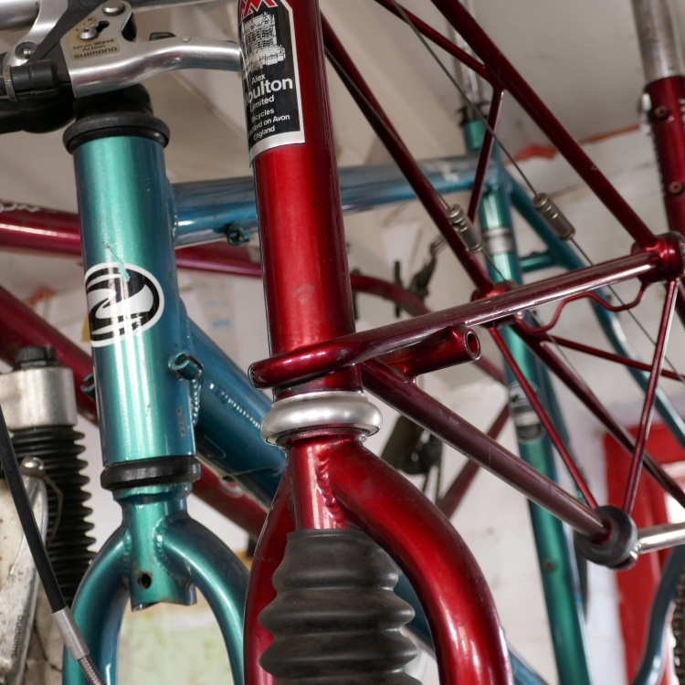 Red and green bicycles hanging from the ceiling.
